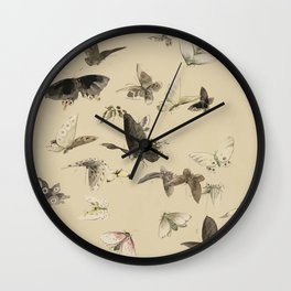 Butterflies on vintage background Wall Clock