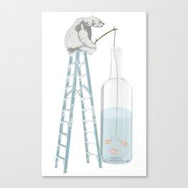 Polar Bear Fishing from a Bottle Canvas Print