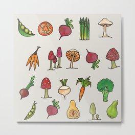 Vegetable Mushroom Fruit Pattern Metal Print