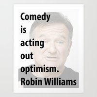 robin williams Art Prints featuring Robin Williams by panamashirt