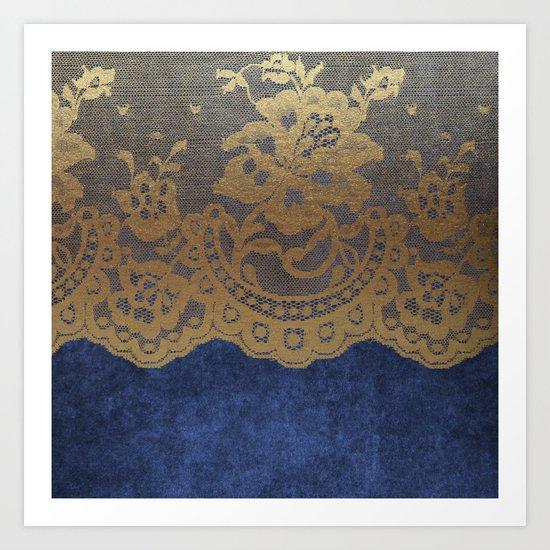 Blue Lace Velvet 01 Art Print