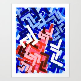 Original Abstract Acrylic Painting Graffiti Urban Geometric Pattern Colourful Painting Red Blue Art Print