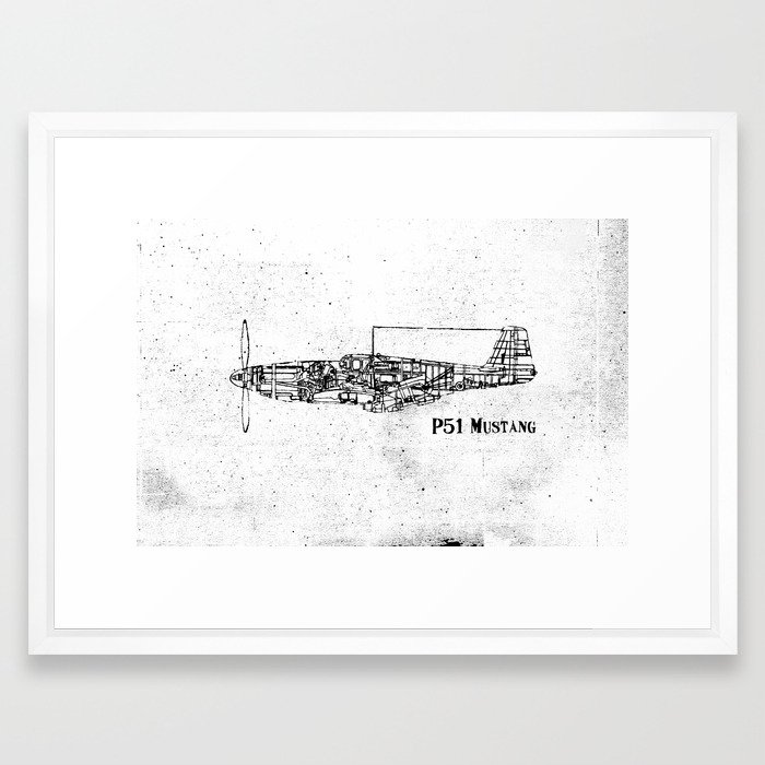 North American P51 Mustang (black) Framed Art Print by ...