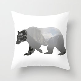 Grizzly Bear with Yosemite Photo Inlay Throw Pillow