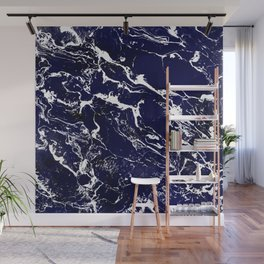Modern Navy blue watercolor marble pattern Wall Mural