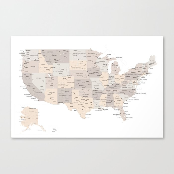 Brown USA map with states and cities Canvas Print