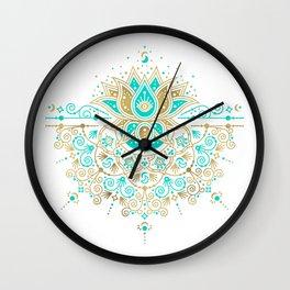 Sacred Lotus Mandala – Turquoise & Gold Palette Wall Clock