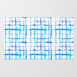 Watercolor Abstract Plaid TieDye in Indigo Ink Rug