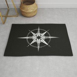 Compass Rose Illustration | White on Black Rug