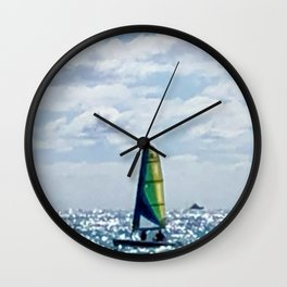 Blue ocean sea boat Wall Clock
