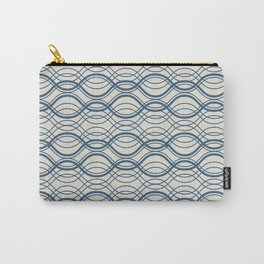Blue & Linen White Thin Overlapping Horizontal Lines Pattern Pairs To 2020 Color of the Year Carry-All Pouch