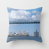 detroit Throw Pillows featuring Nearing Detroit by Ann Horn