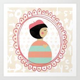 Oui Oui Mon Cheri Happy Little French Girl Wall Art Art Print