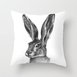 Cute Hare portrait G126 Throw Pillow