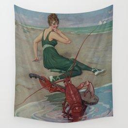 Vintage Lobster Guitar Serenade Illustration (1914) Wall Tapestry