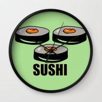 sushi Wall Clocks featuring Sushi by Sofia Youshi