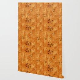 Butterflies on Wood Background Wallpaper
