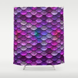 Shimmering Mermaid Scales In Bright Pink Shower Curtain