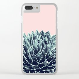 Blush Navy Blue Agave Chic #1 #succulent #decor #art #society6 Clear iPhone Case