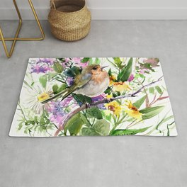 Robin and Summer Flowers Rug