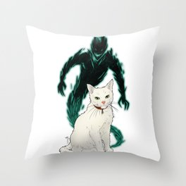 Mogget (green) Throw Pillow