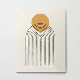 Gold Sun rainbow mountain Metal Print