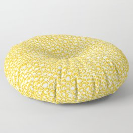 Yellow Unique Textured Charcoal Circle Doodle Pattern Drawing // Animal Snake Scale Print Floor Pillow