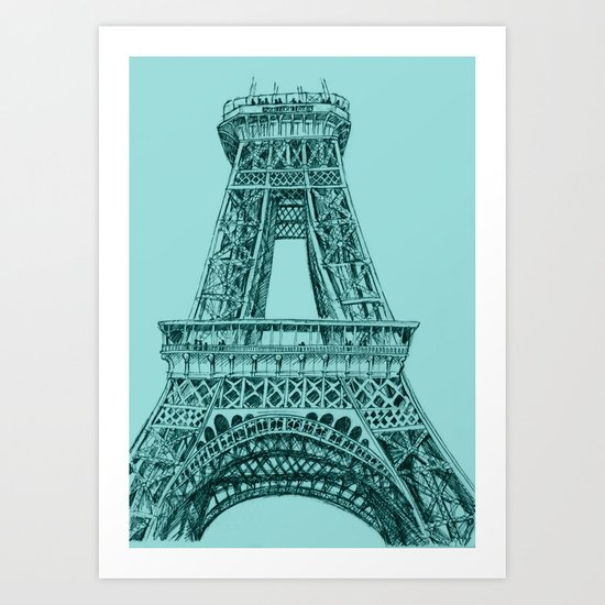Paris in Teal Art Print