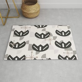 Atomic Era Funky Flowers (Silver) Rug