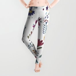 Watercolor Flowers White Leggings