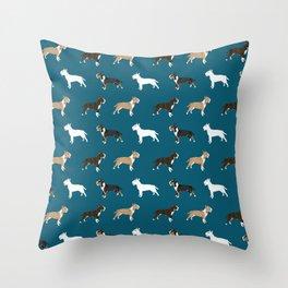 Bull Terrier dog breed cute custom pet portrait pattern all coat colors Throw Pillow