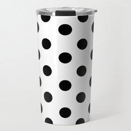 White & Black Polka Dots Travel Mug