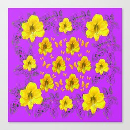 YELLOW AMARYLLIS FLOWERS & BUTTERFLIES PURPLE ART Canvas Print