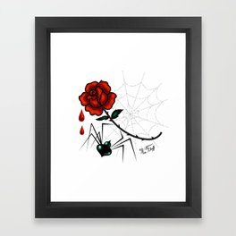 Black Widow Spider with Red Rose Framed Art Print