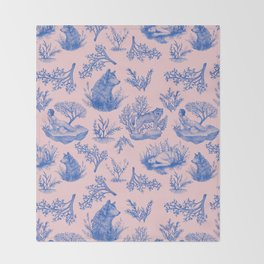"""I'm Still an Animal"" Toile (Pink & Blue) Throw Blanket"