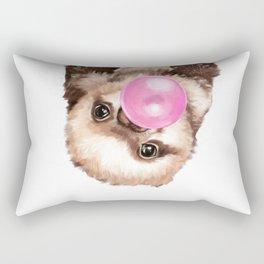 Baby Sloth Playing Bubble Gum Rectangular Pillow