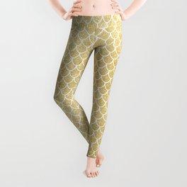Mermaid Tail Pattern  |  Gold Glitter Leggings