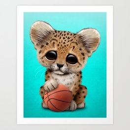 Leopard Cub Playing With Basketball Art Print