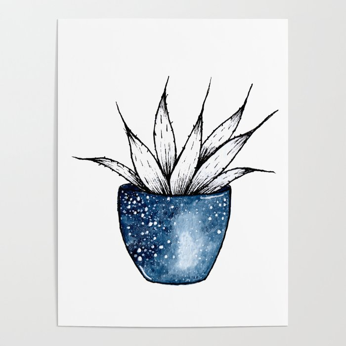 Galaxy Plant | Ink and Watercolor Poster