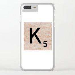 Scrabble Tile - Letter K - Letter Art Clear iPhone Case