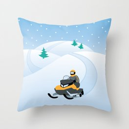 Snowmobiling on a Snowy Winter Day Throw Pillow