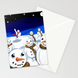 Snowmen Gathering Stationery Cards