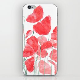 abstract red poppy field watercolor iPhone Skin
