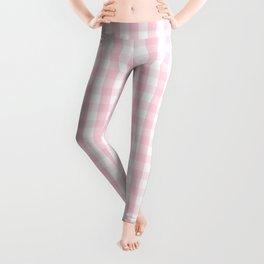 Light Soft Pastel Pink and White Gingham Check Plaid Leggings