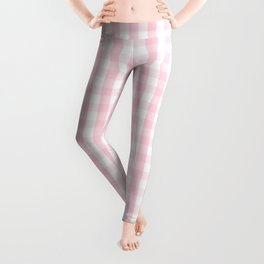Light Soft Pastel Pink and White Gingham Check Plaid Leggings