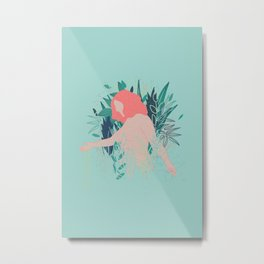 Nude in coral pink going through the garden Metal Print