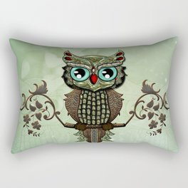 Cute  owl, green diamond Rectangular Pillow
