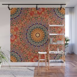 Indian Summer II - Colorful Boho Feather Mandala Wall Mural