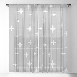 Mid Century Modern Star Pattern 443 Gray Sheer Curtain