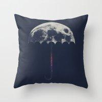 umbrella Throw Pillows featuring Space Umbrella by filiskun